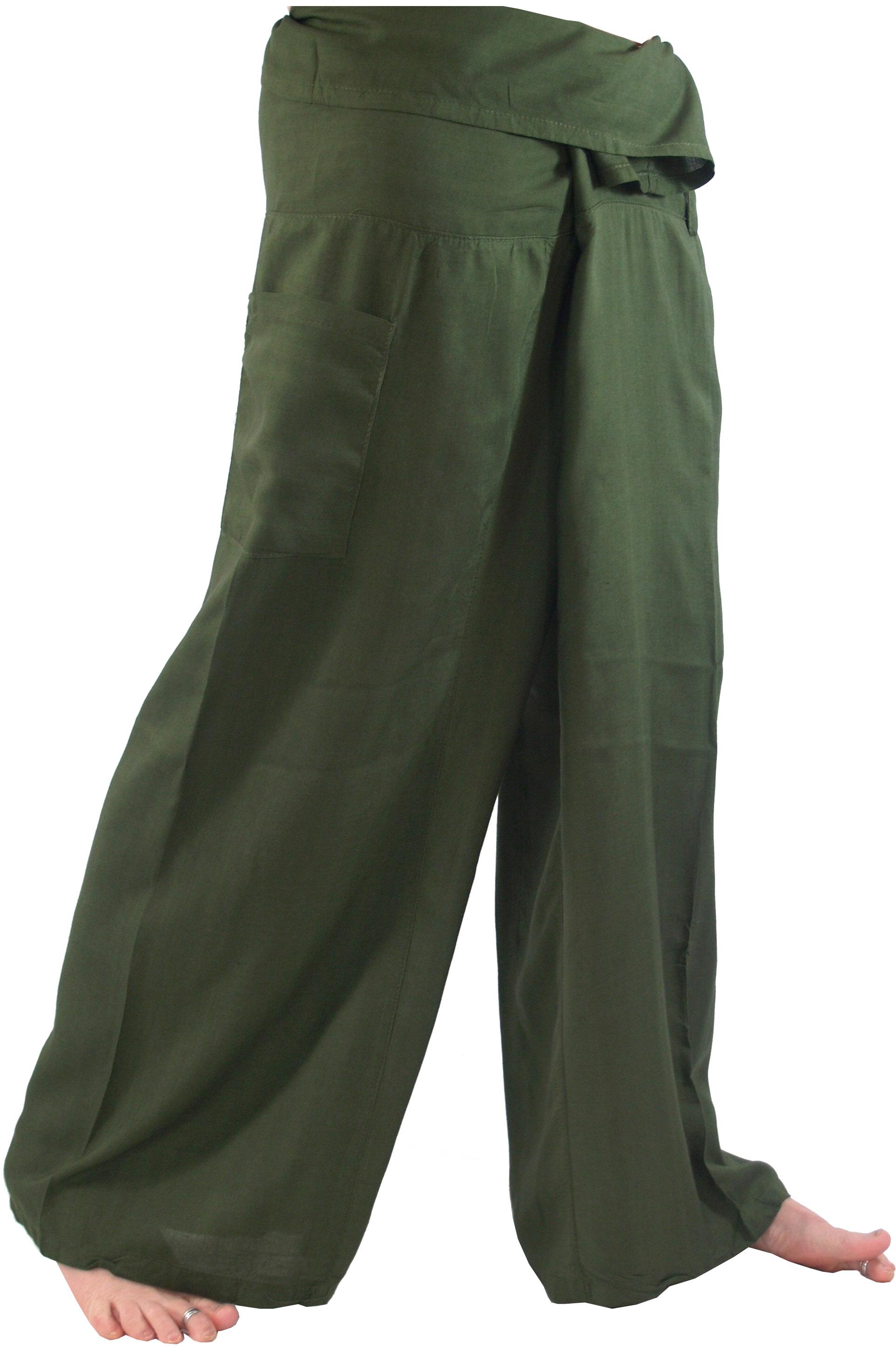 Thai Fischerhose aus gestreiftem Webstoff M//L schwarz // Wickelhose Yogahose